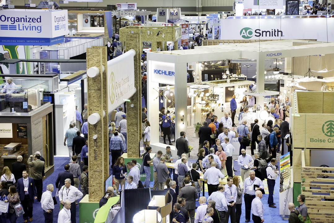 People walking on the Builders' Show show floor.