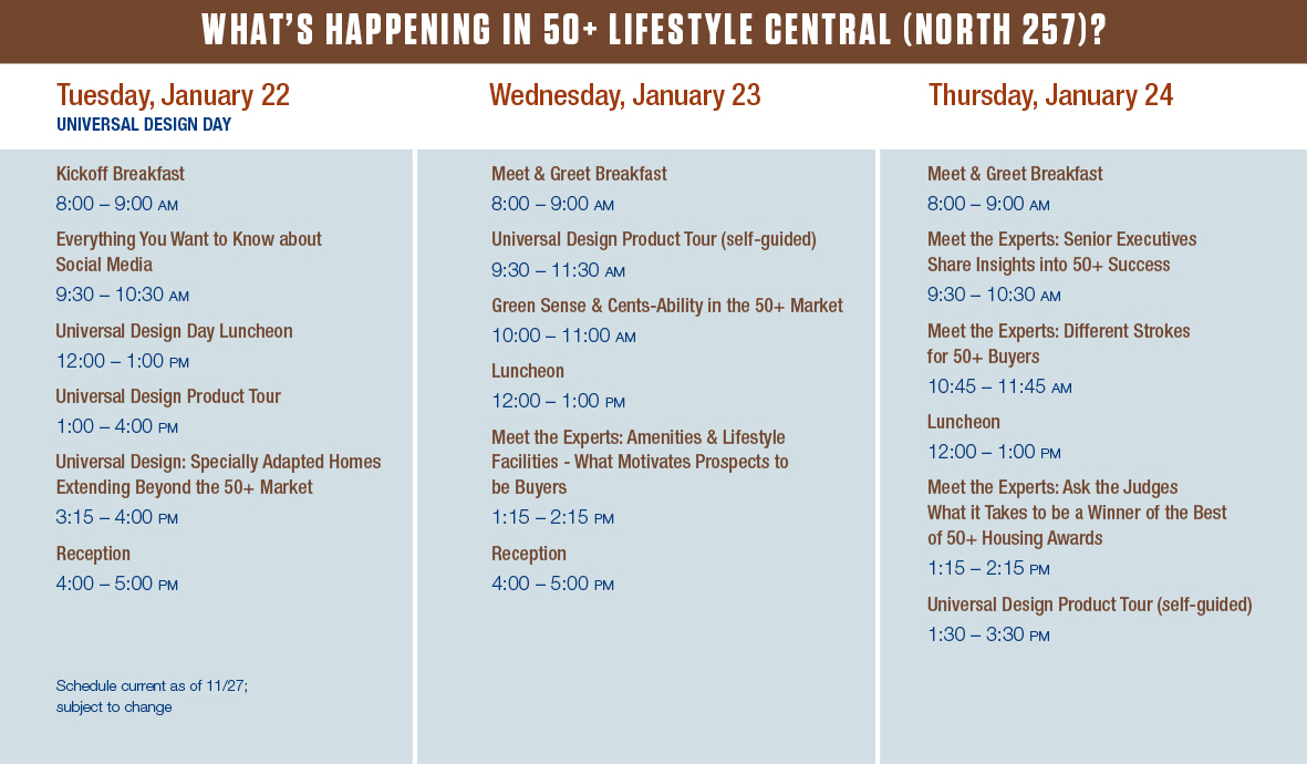 What's happening in 50+ Lifestyle Central - Schedule