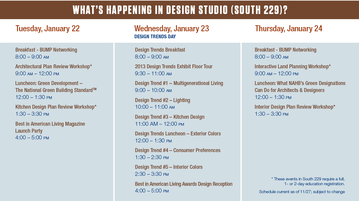 What's happening in Design Studio - Schedule